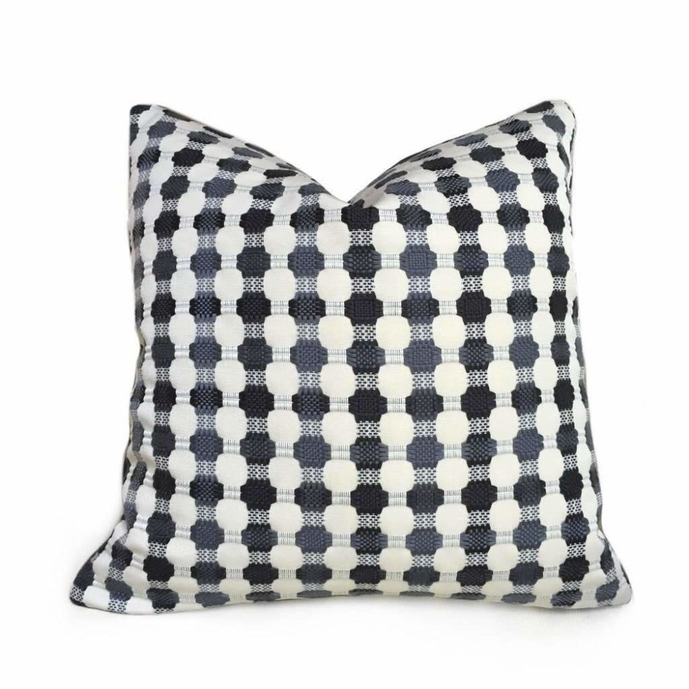 Designer Black Gray Cream Checks Geometric Texture Pillow Cover
