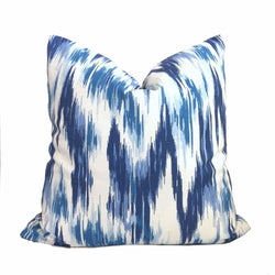 Designer Blue White Abstract Ikat Cotton Print Pillow Cover Cushion Pillow Case Euro Sham 16x16 18x18 20x20 22x22 24x24 26x26 28x28 Lumbar Pillow 12x18 12x20 12x24 14x20 16x26 by Aloriam
