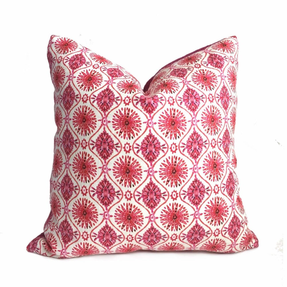 Designer Ethnic Chic Pink Cream Starburst Geometric Pillow Cover by Aloriam