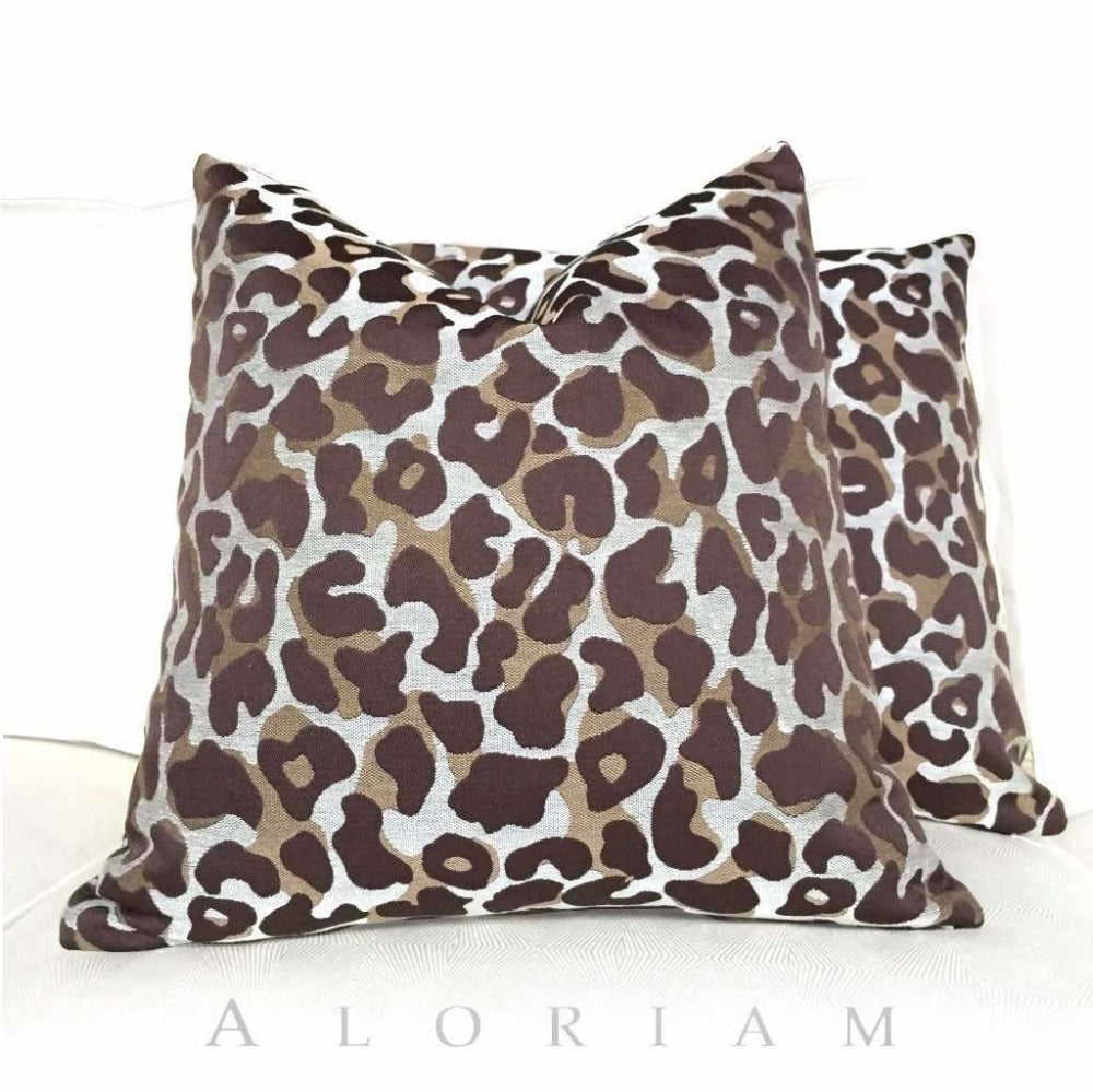 Designer Cheetah Leopard Animal Pattern Brown Beige Pillow Cushion Cover