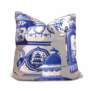 Designer Chinoiserie Asian Ginger Jars Porcelain Gray Blue White Pillow Cover Cushion Pillow Case Euro Sham 16x16 18x18 20x20 22x22 24x24 26x26 28x28 Lumbar Pillow 12x18 12x20 12x24 14x20 16x26 by Aloriam