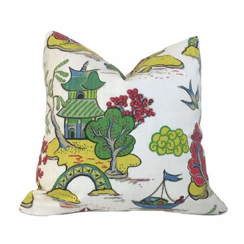 Designer Chinoiserie Asian Theme Cotton Print Pillow Cover by Aloriam