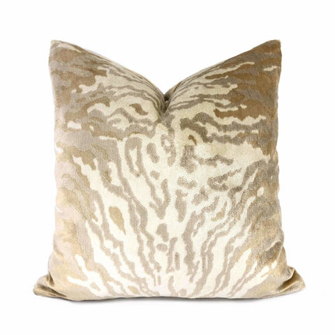 Designer Cream Sand Beige Silk Velvet Animal Tiger Stripe Texture Pillow Cover Cushion Pillow Case Euro Sham 16x16 18x18 20x20 22x22 24x24 26x26 28x28 Lumbar Pillow 12x18 12x20 12x24 14x20 16x26 by Aloriam
