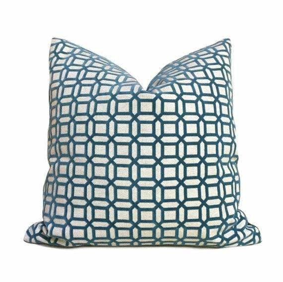 Designer Cut Velvet Teal Green Geometric Checks Lattice Pillow Cushion Cover Cushion Pillow Case Euro Sham 16x16 18x18 20x20 22x22 24x24 26x26 28x28 Lumbar Pillow 12x18 12x20 12x24 14x20 16x26 by Aloriam