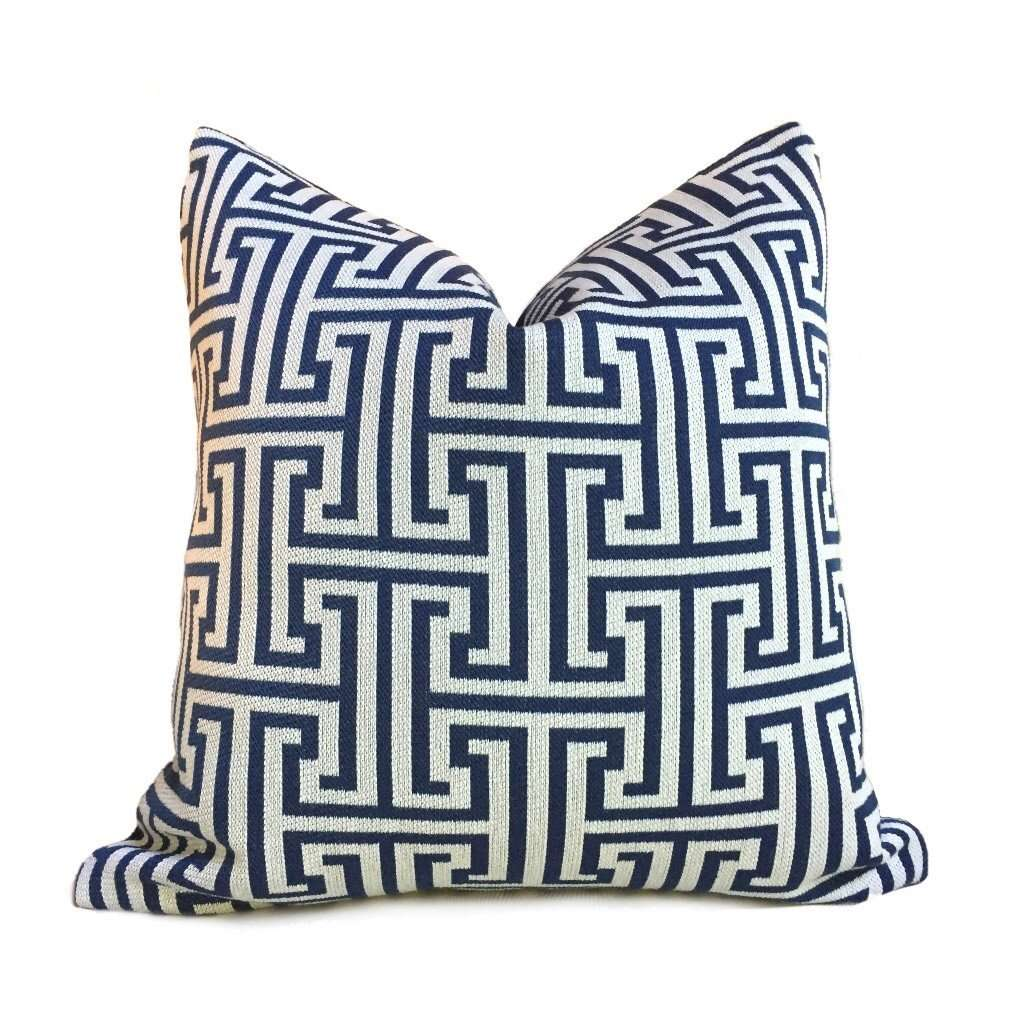 Designer Dark Blue Beige Greek Key Geometric Pillow Cover by Aloriam