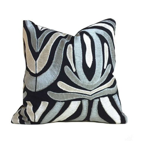 "Designer Embroidered Ethnic Tribal Motif Black Silvery Beige Gray Pillow Cover, Fits 12x18 14x20 16x26 16"" 18"" 20"" 22"" 24"" Inch Cushions"