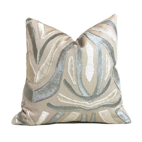Designer Embroidered Ethnic Tribal Motif Silvery Beige Gray Tan Pillow Cover