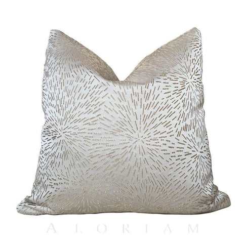 Modern Embroidered Cream Gold Starburst Pillow Cushion by Aloriam