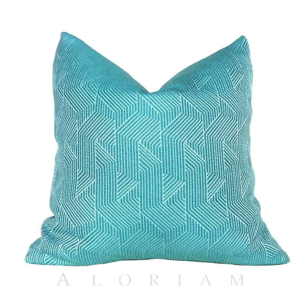 Designer Emerald Green Geometric Lines Pillow Cushion Zipper Cover Cushion Pillow Case Euro Sham 16x16 18x18 20x20 22x22 24x24 26x26 28x28 Lumbar Pillow 12x18 12x20 12x24 14x20 16x26 by Aloriam
