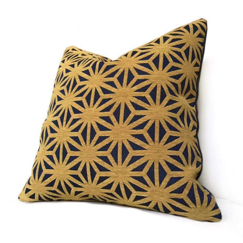 Designer Federalist Star Lattice Navy Blue Mustard Gold Geometric Pillow Cover