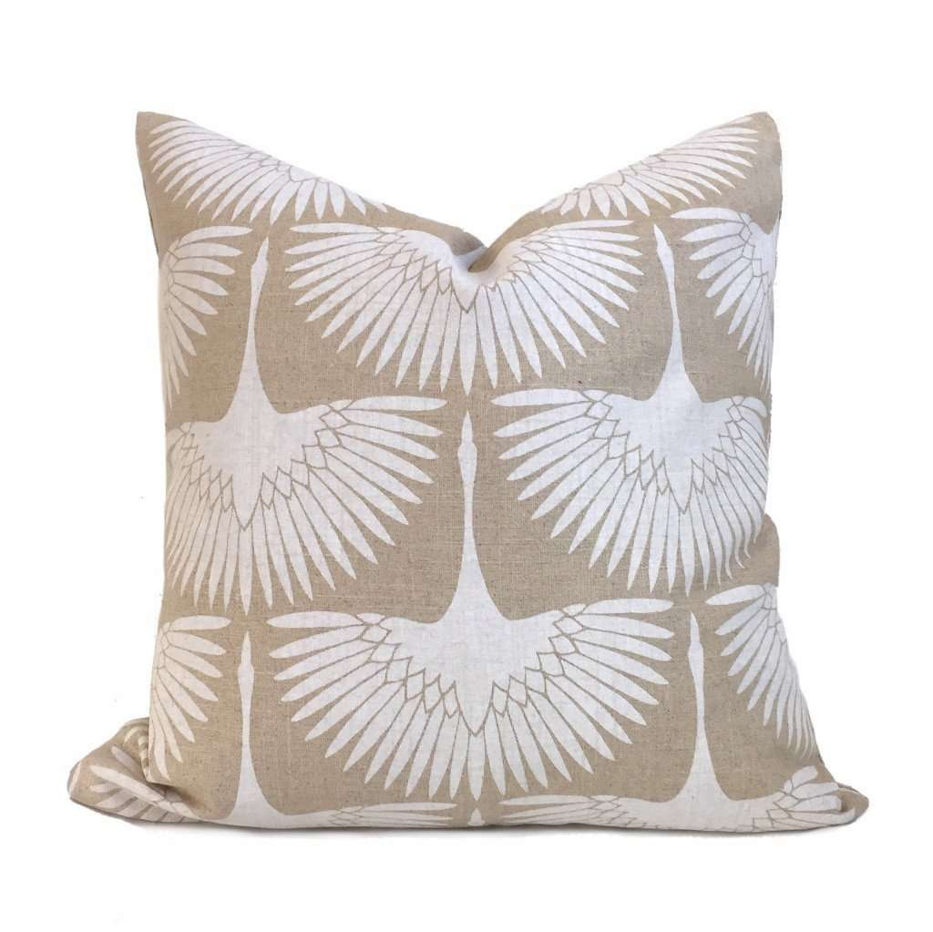 Genevieve Gorder Flock Crane Birds Beige White Linen Print Pillow Cover