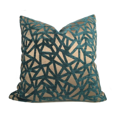 Designer Geometric Web Pattern Teal Green Bronze Brown Pillow Cover