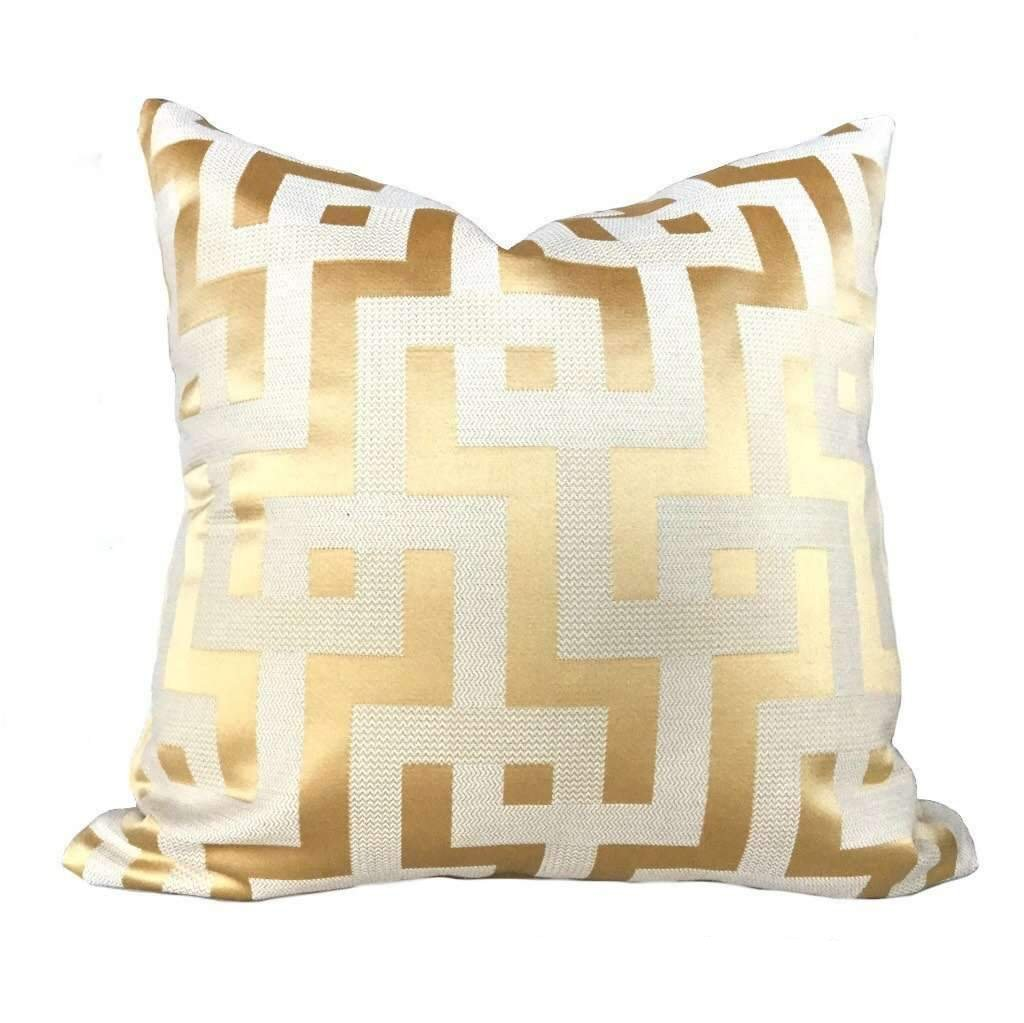 Designer Gold Ivory Greek Key Maze Fretwork Geometric Pillow Cover
