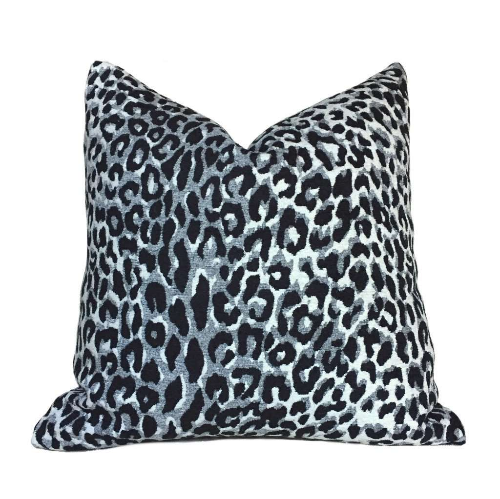 Designer Gray Black Cream Leopard Cheetah Animal Spots Pillow Cover by Aloriam