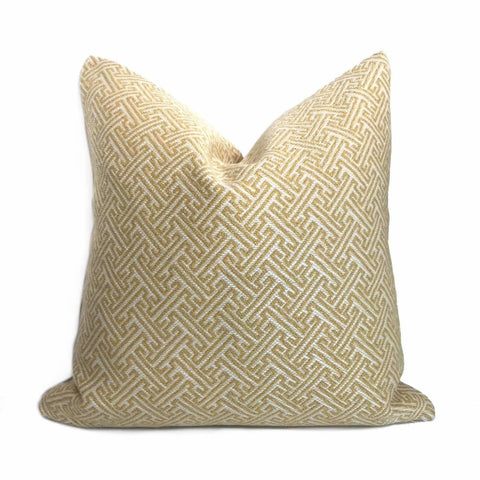 Greek Key Gold Cream Geometric Pillow Cover