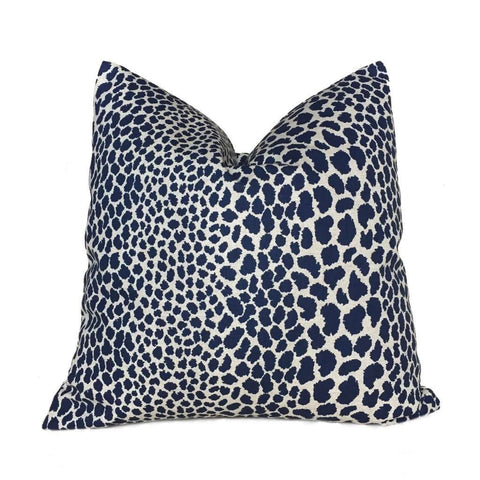 Designer Leopard Spots Navy Blue Beige Animal Print Pillow Cover by Aloriam