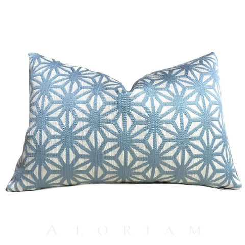 Designer Light Blue Cream Geometric Star Lattice Pillow Cover