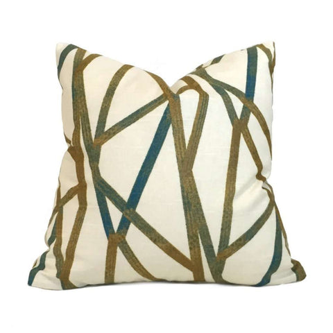 Designer Modern Abstract Lines Teal Cream Mustard Gold Cotton Print Pillow Cover by Aloriam