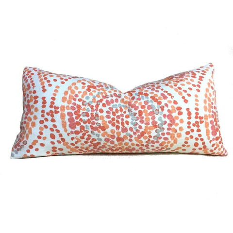 Duralee Glimpse Designer Modern Pointillist Mosaic Medallion Orange Coral Gray White Pillow Cover by Aloriam