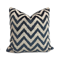 Designer Navy Blue Velvet Ikat Chevron Decorative Throw Pillow Cover by Aloriam