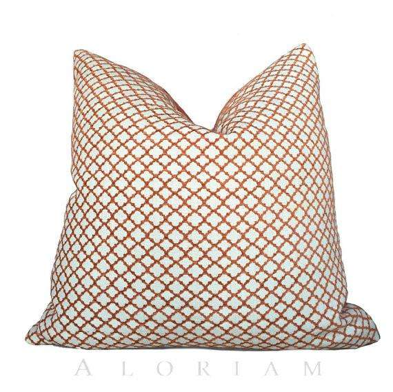 Designer Orange Cream Geometric Small Diamond Lattice Fretwork Pillow Cushion Cover Cushion Pillow Case Euro Sham 16x16 18x18 20x20 22x22 24x24 26x26 28x28 Lumbar Pillow 12x18 12x20 12x24 14x20 16x26 by Aloriam