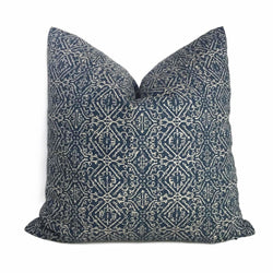 Lacefield Designs Priya Blue Beige Tribal Ethnic Geometric Pillow Cover
