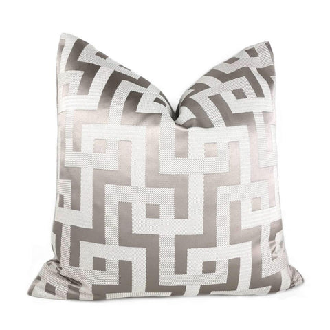 Silver Gray Greek Key Maze Fretwork Geometric Pillow Cover