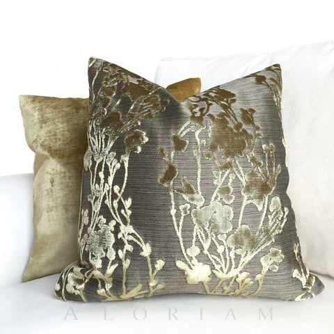 Designer Straw Gold Cut Velvet Floral Pillow Cover Cushion Pillow Case Euro Sham 16x16 18x18 20x20 22x22 24x24 26x26 28x28 Lumbar Pillow 12x18 12x20 12x24 14x20 16x26 by Aloriam
