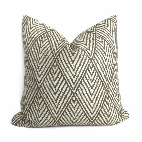 Designer Tahitian Stitch Tusk Stacked Diamonds Geometric Pillow Cover (Made from Lacefield Designs Fabric) Cushion Pillow Case Euro Sham 16x16 18x18 20x20 22x22 24x24 26x26 28x28 Lumbar Pillow 12x18 12x20 12x24 14x20 16x26 by Aloriam