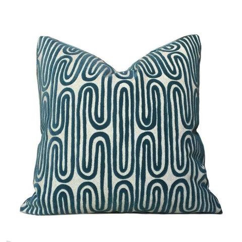 Designer Teal Green Beige Cut Velvet Geometric Undulating Lines Pillow Cover