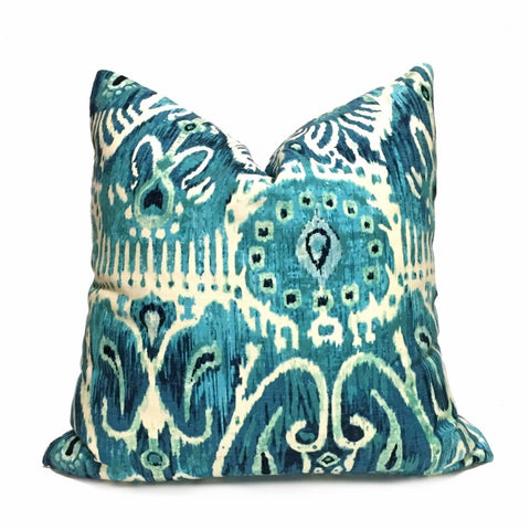 Designer Teal Green Cream Ikat Ethnic Motif Pillow Cover Cushion Pillow Case Euro Sham 16x16 18x18 20x20 22x22 24x24 26x26 28x28 Lumbar Pillow 12x18 12x20 12x24 14x20 16x26 by Aloriam