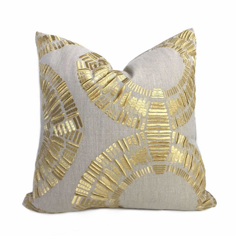 Designer Tribal Embroidered Gold Circles Linen Texture Pillow Cover Cushion Pillow Case Euro Sham 16x16 18x18 20x20 22x22 24x24 26x26 28x28 Lumbar Pillow 12x18 12x20 12x24 14x20 16x26 by Aloriam