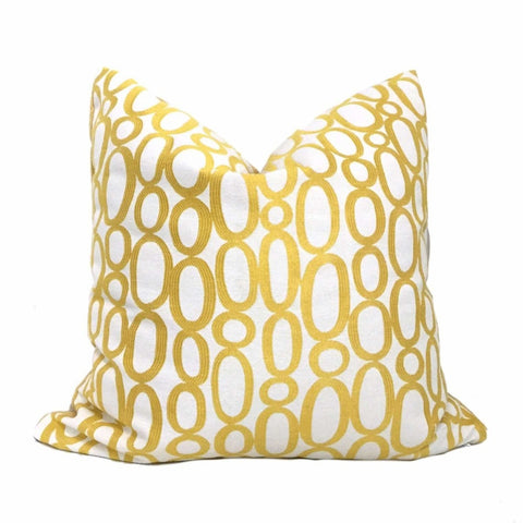 Designer Yellow Cream Looped Ovals Geometric Pillow Cover Cushion Pillow Case Euro Sham 16x16 18x18 20x20 22x22 24x24 26x26 28x28 Lumbar Pillow 12x18 12x20 12x24 14x20 16x26 by Aloriam