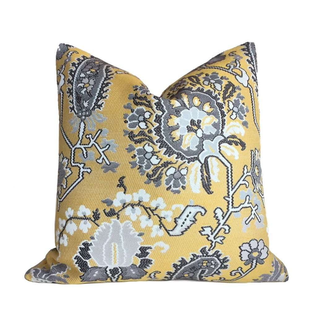 Yellow Gray Aztec Flower Southwest Tribal Style Floral Pillow