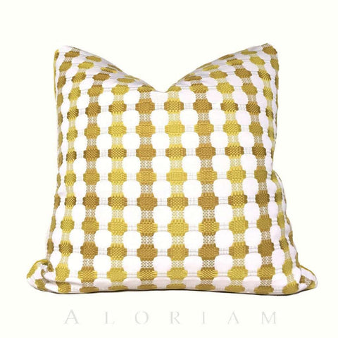 Designer Yellow White Checks Geometric Pillow Cover