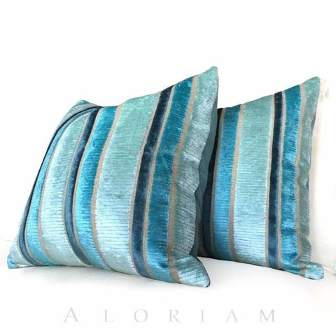 Designers Guild Piomba Azure Aqua Blue Textured Velvet Stripe Pillow Cushion Cover
