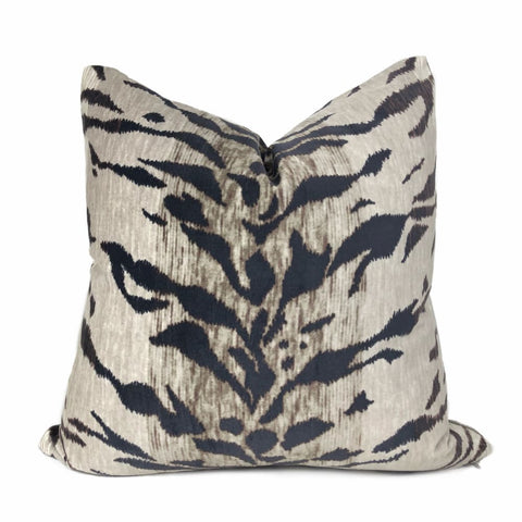 Diego Black Gray Large Scale Tiger Stripe Velvet Pillow Cover - Aloriam