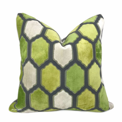 Dorsey Green Gray Geometric Tile Velvet Pillow Cover - Aloriam