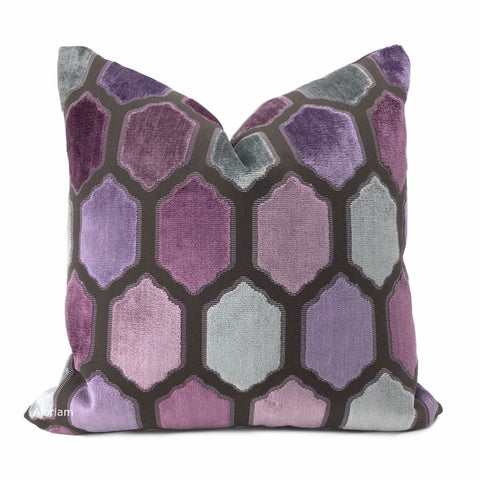 Dorsey Purple Gray Geometric Tile Velvet Pillow Cover - Aloriam