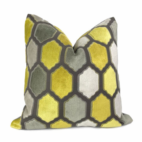 Dorsey Yellow Gray Geometric Tile Velvet Pillow Cover - Aloriam
