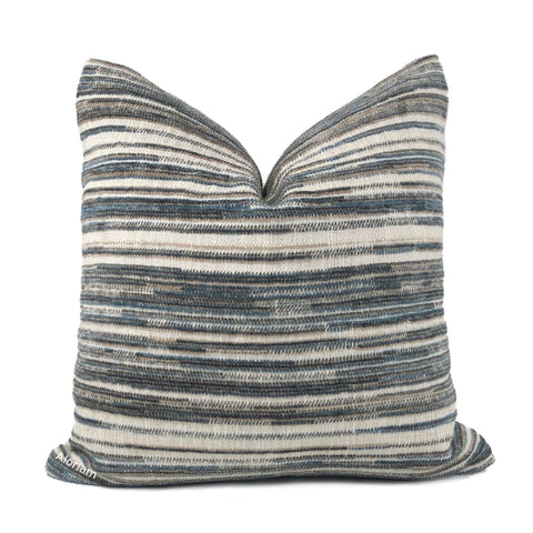 Dustin Brown Beige Teal Blue Textured Stripes Chenille Pillow Cover - Aloriam