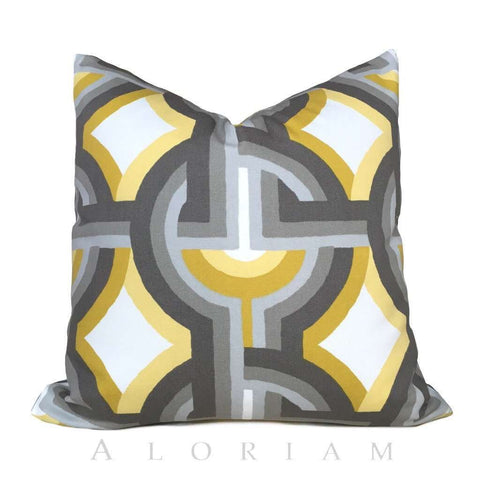 Dwell Studio Futura Yellow Gray White Modern Geometric Pillow Cushion by Aloriam