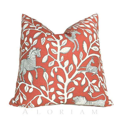 Dwell Studio Pantheon Folk Art Animals Forest Persimmon Orange Ivory Pillow Cushion Cover Cushion Pillow Case Euro Sham 16x16 18x18 20x20 22x22 24x24 26x26 28x28 Lumbar Pillow 12x18 12x20 12x24 14x20 16x26 by Aloriam