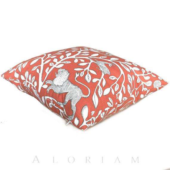Orange and Ivory Greek Key Indoor  Outdoor Pillow Cover in Persimmon