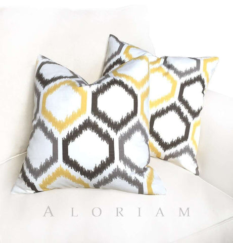 Dwell Studio Robert Allen Ikat Trellis Gray Yellow White Pillow Cushion Cover