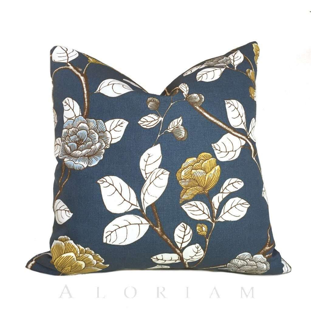 Dwell Studio Robert Allen Leda Peony Navy Blue White Yellow Floral Pillow Cover