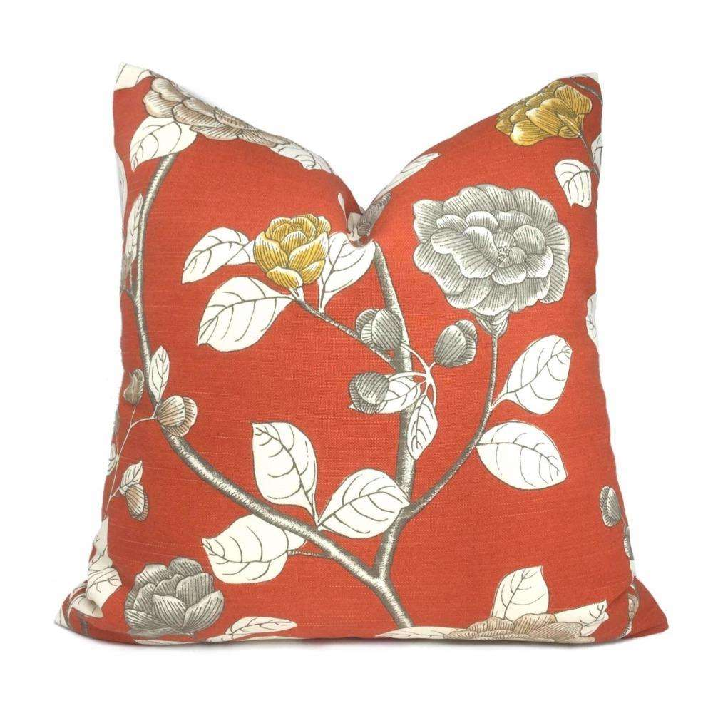 Dwell Studio Leda Peony Persimmon Orange Floral Pillow Cover