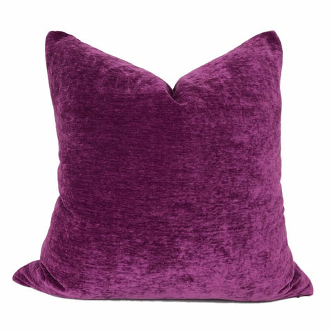 Dynasty Violet Purple Chenille Velvet Pillow Cover - Aloriam