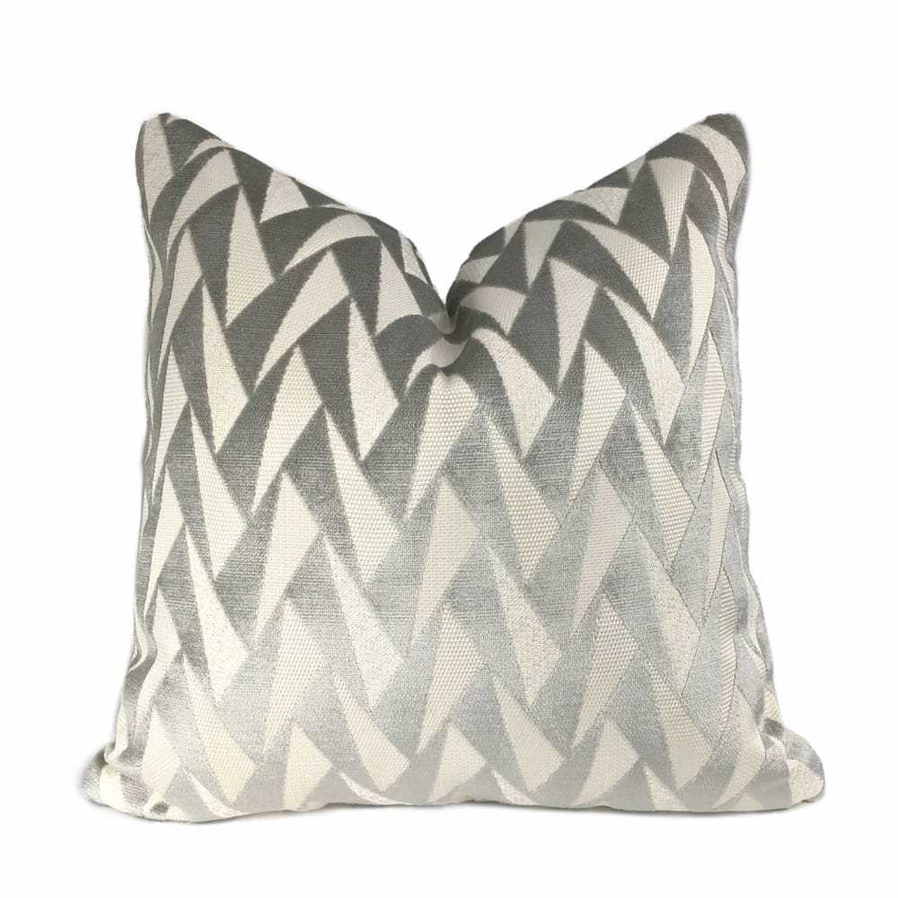 Easton Gray & Cream Triangles Velvet Pillow Cover - Aloriam