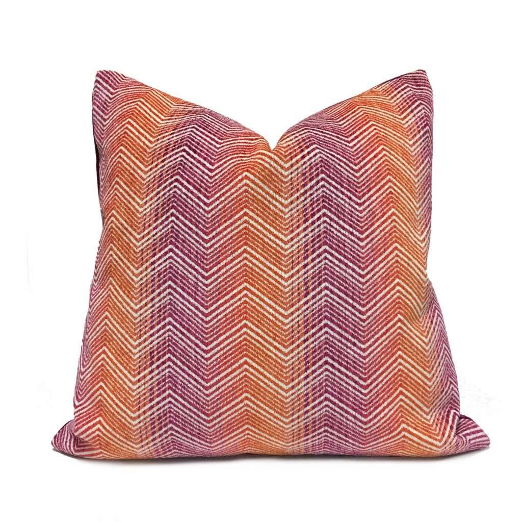 Eileen Boyd Designer Orange Purple Chevron Zig Zag Chenille Velvet Pillow Cover Cushion Pillow Case Euro Sham 16x16 18x18 20x20 22x22 24x24 26x26 28x28 Lumbar Pillow 12x18 12x20 12x24 14x20 16x26 by Aloriam